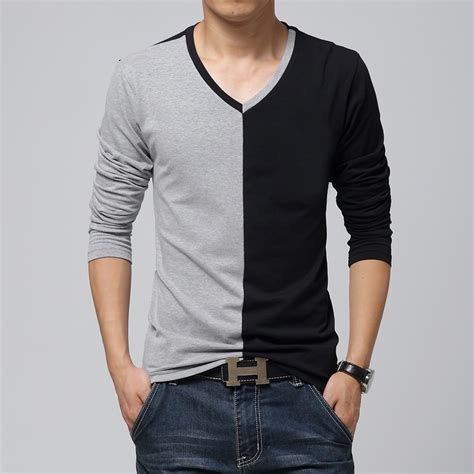 Kasual Tshirt fashion sleeve t shirt mens v neck casual t