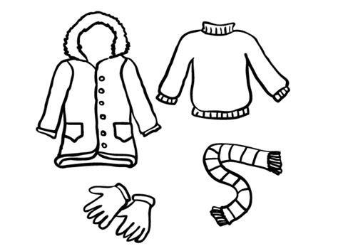 winter clothes coloring pages free or print
