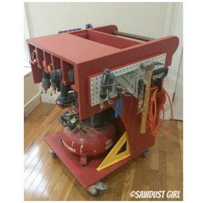 rolling tool cart  air compressor storage sawdust girl
