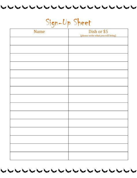 Free Printable Sign Up Sheet Printable Loving Printable Free Sign Up Sheet Template