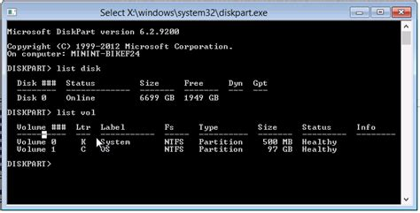 diskpart output format windows free space vanishes after creating primary