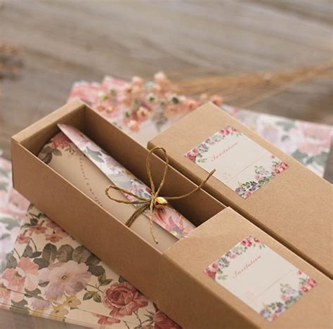 wedding invitation in a box 50 free personalized customised printing kraft paper box
