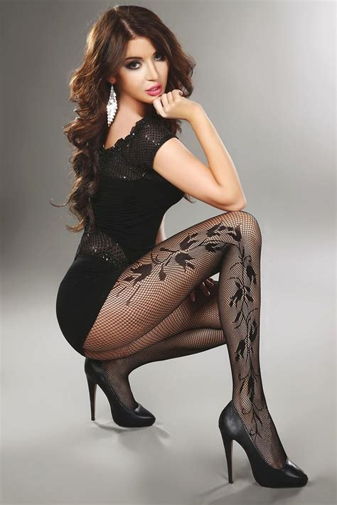 patterned tights black dress wow super sexy brunette angel in short black dress high
