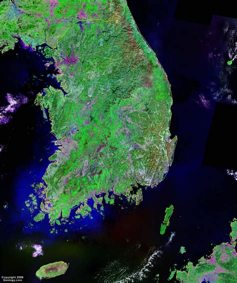satellite maps south korea map and satellite image