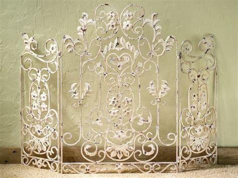 antique white iron fireplace screen 34 quot h no mesh