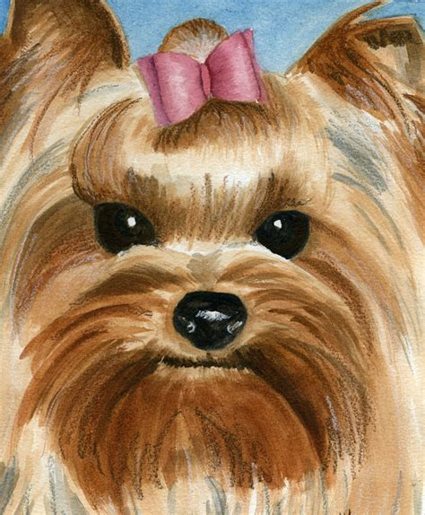 yorkie painting yorkie watercolor painting custom pet portrait
