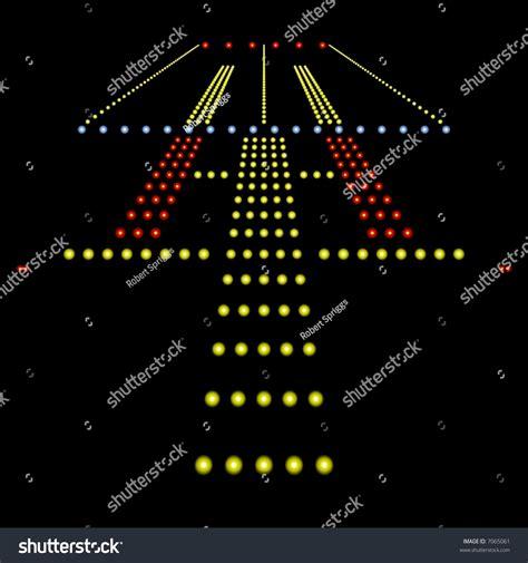 runway lights at night perfect view airport runway lights night stock
