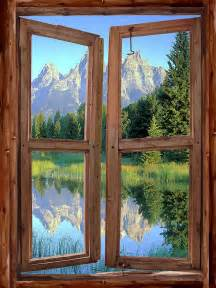 what is a wall mural mountain cabin window wall mural