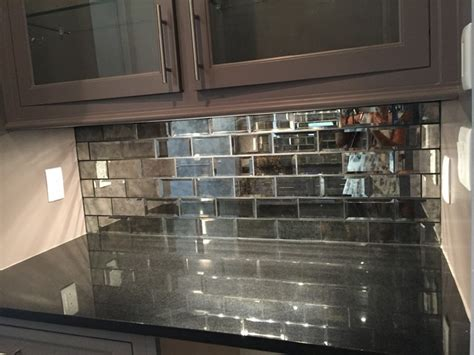 mirrored subway tiles absolute black countertop and 3x6 quot mirrored gray subway tile