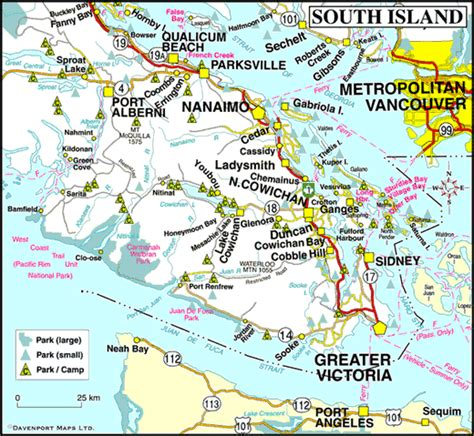 map of south canada map of south vancouver island columbia travel