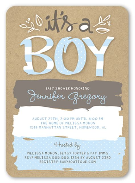 Baby Shower Invitations Shutterfly pattern shower boy 5x7 greeting card baby shower
