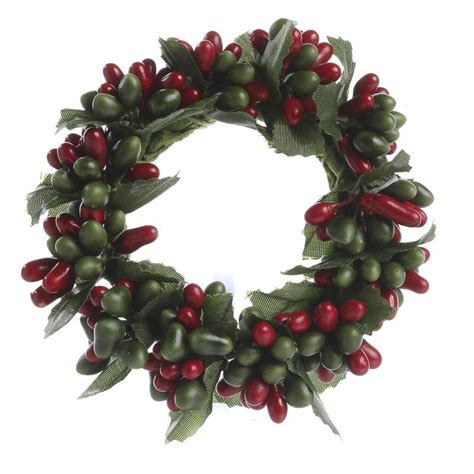 candle ring snow red berries and green pip berry candle ring pip berries primitive decor