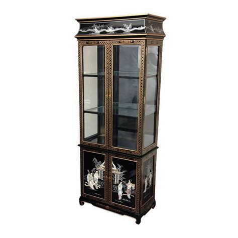 Shop Oriental Furniture Lacquer Black Lacquer Rectangular China Cabinet at Lowes.com