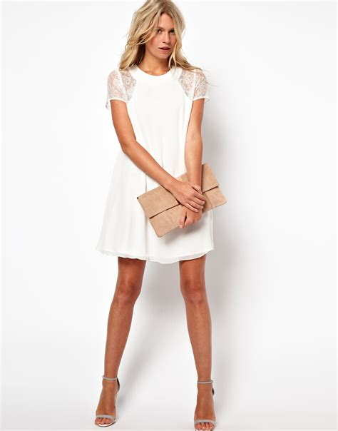 white swing dress love swing dress with lace insert in white lyst