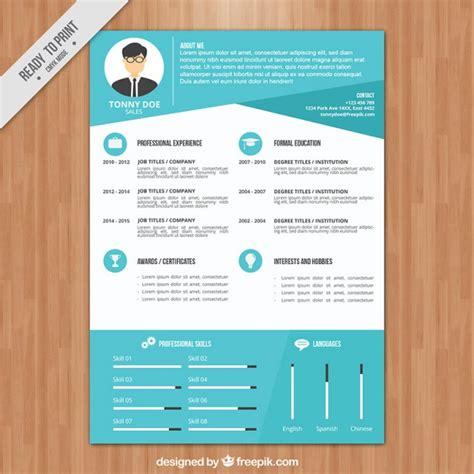 modern blue resume template vector free