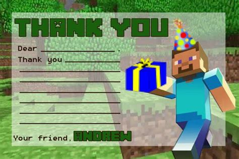 Minecraft Thank You Card Template by Minecraft Thank You Note With Blanks By Twotwelvedesigns