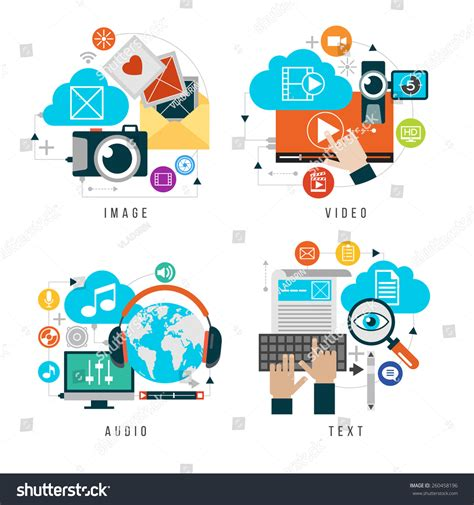 design elements of text media content forms combined multimedia set design stock vector