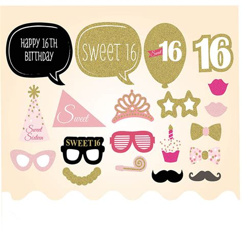 printable photo booth props sweet 16 aliexpress com buy 20pcs happy 16th birthday party