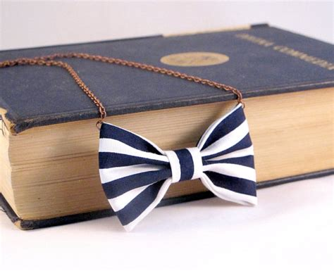 Ac01 Stripe Tie Necklace nautical stripes bow tie necklace white and blue navy bow
