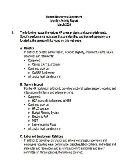 how to write a monthly report template 14 monthly report exles sles pdf word