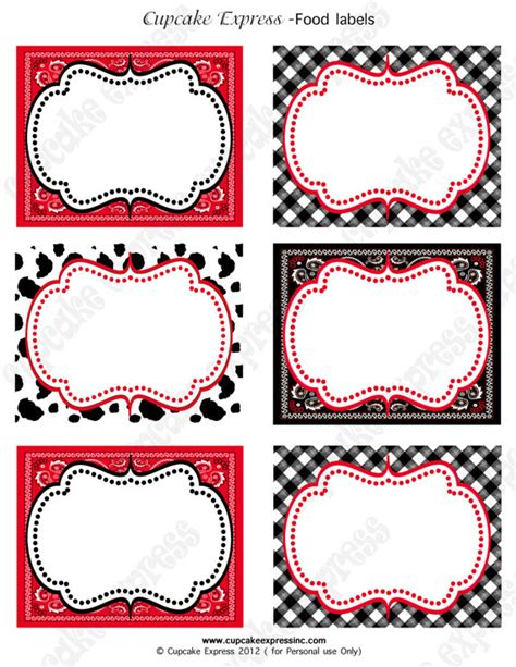 free template for labels for cards western instant diy cowboy birthday printable food