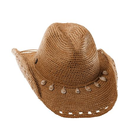 womens crocheted raffia cowboy hat with shells by