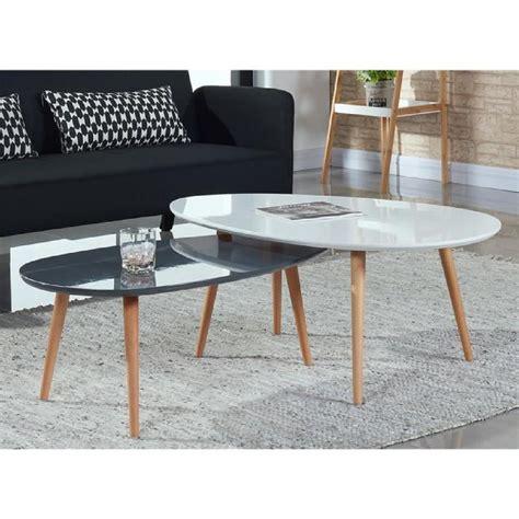 Stone Lot De 2 Tables Basses Blanc Et Gris Laqu 233 Achat