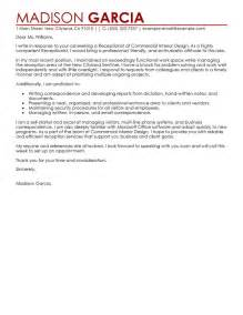 Reception Cover Letter by Leading Professional Receptionist Cover Letter Exles