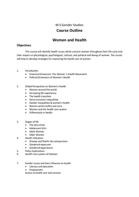 Perspectives Course Outline by Course Outlines Gender Studies Punjab