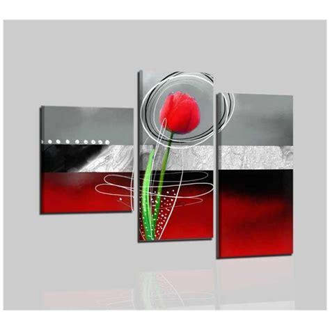 quadri moderni con fiori trittico di quadri astratti in rosso e nero con fiore