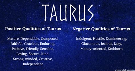 find positives and negatives of your zodiac sign taurus