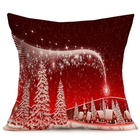 red home decorative merry christmas throw pillow cover