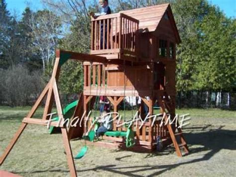 sky fort swing set skyfort cedar playset assembly youtube