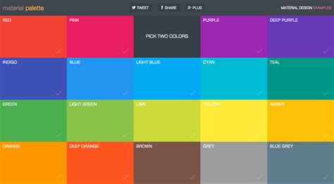 color designs material palette one page website award