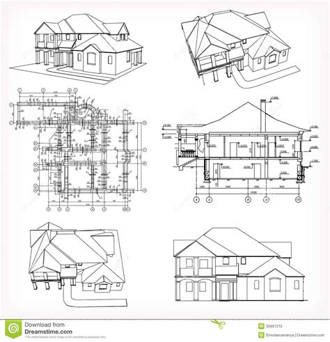 Set Houses And Blueprint Vector Stock Photo Image 35897210 Blueprint Of Mansion House