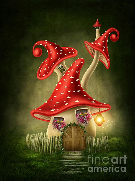 fantasy mushroom house digital art by elena schweitzer
