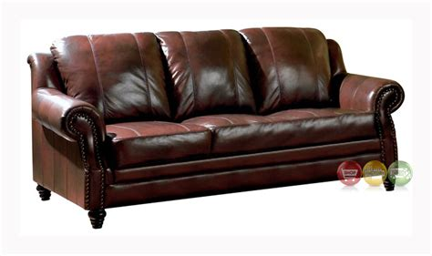 princeton leather sofa princeton traditional genuine tri tone leather sofa 500661