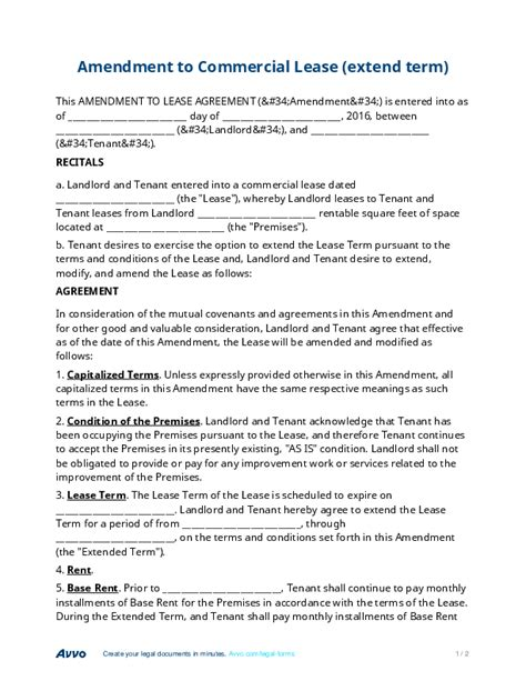 lease amendment form commercial lease amendment