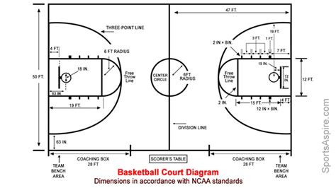 basketball court diagram labeled a detailed diagram of the basketball court