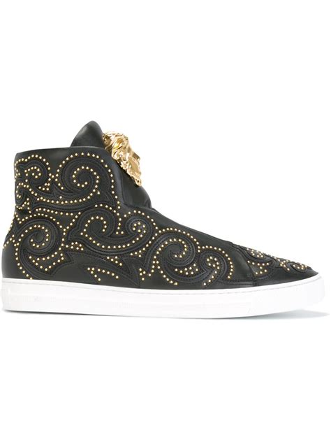 versace sneakers versace palazzo hi top sneakers in black for lyst