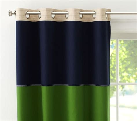Rugby Blackout Panel Navy Green Contemporary Curtains