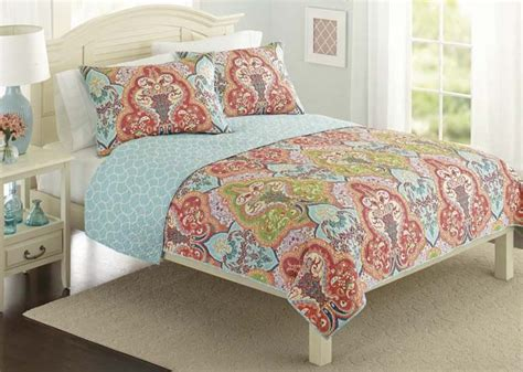 coral and turquoise bedroom better homes and gardens jeweled damask bedding quilt