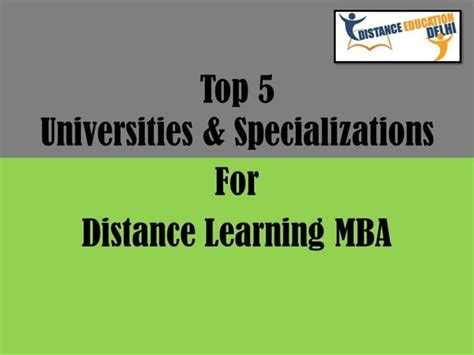 Top Universities For Distance Mba by Top 5 Universities And Specializations For Distance
