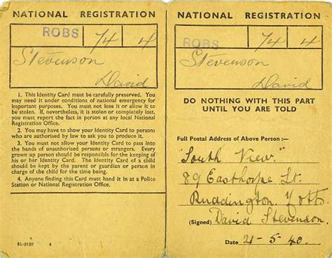 world war 2 identity card template ww2 national registration identity cards