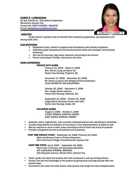 Resume Sample In Tagalog by Resume Format Nursing Job