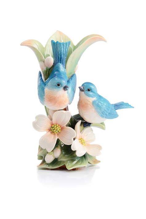 franz collection porcelain joyful bird figurine blue franz porcelain destiny love blue bird dogwood small vase