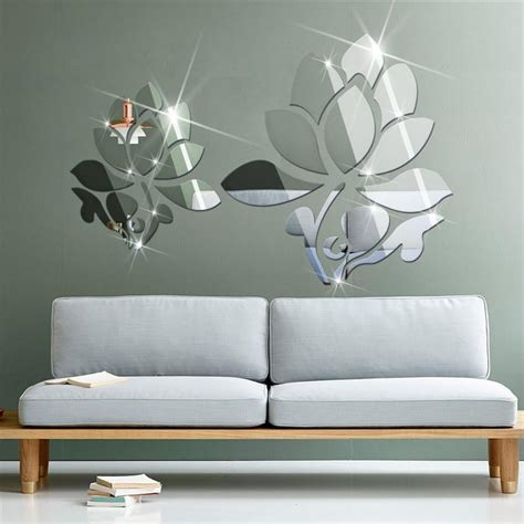 architectural wall murals acrylic 3d diy mirror surface wall sticker of lotus flowers for bedroom decorative wall decals