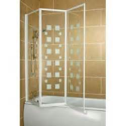 Folding Over Bath Shower Screens 1400 x1400 aqualux white 3 folding shower over bath screen glass panel