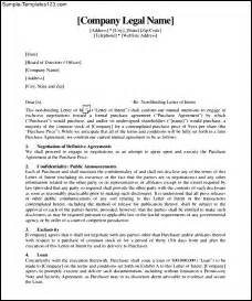 non binding letter of intent template free