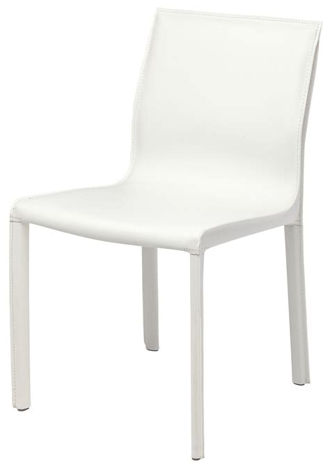 colter white leather dining chair hgar267 nuevo